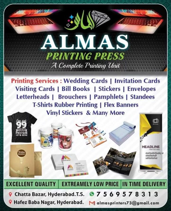 Almas Printing Press Hafiz Babanagar Hyderabad Printing Press