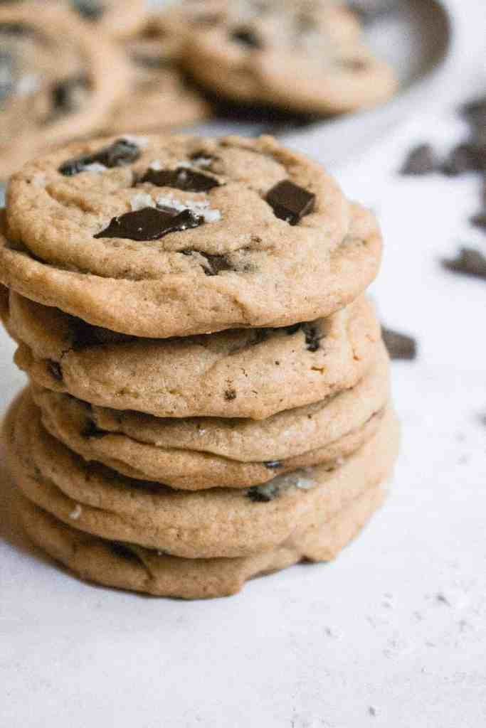 Stack of chocolate chunk cookies.