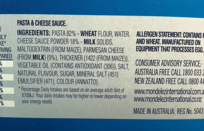 Ingrediants from an easy mac packet