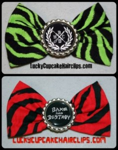 Bake and Destroy hair clips bows
