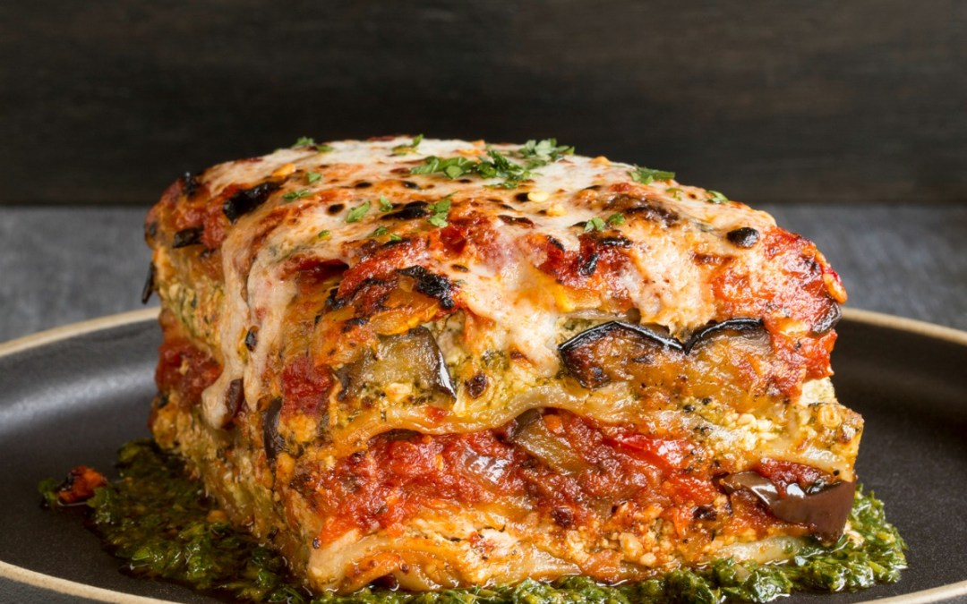 Grilled Garden Vegetable Lasagna with Puttanesca Sauce from Crossroads by Tal Ronnen