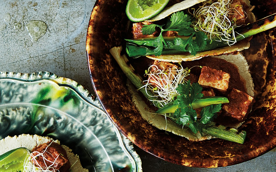 V is for Vegan: Chocolate Smoky Tofu Mole in Tacos with Grilled Calçots