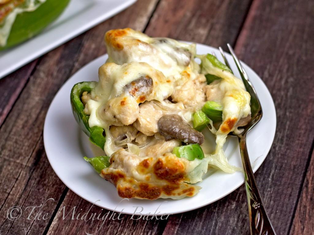 Philly Style Mushroom Asiago Chicken Stuffed Peppers | bakeatmidnite.com | #mushroomasiagochicken #stuffedpeppers