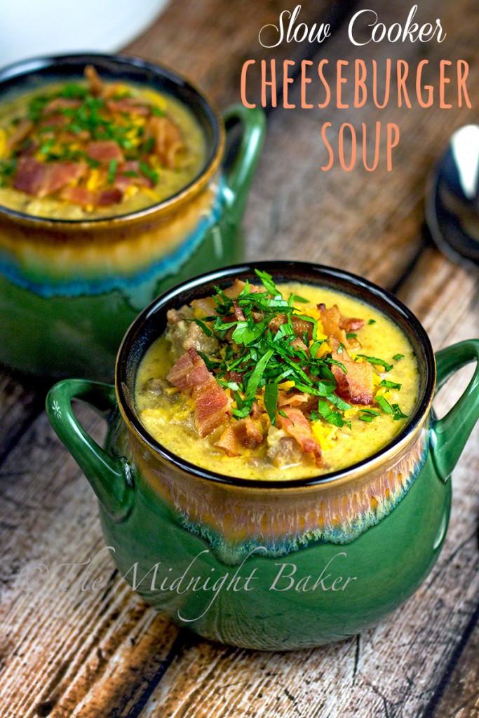 Slow Cooker Cheeseburger Soup | bakeatmidnite.com | #slowcooker #crockpot #soup #cheeseburgersoup