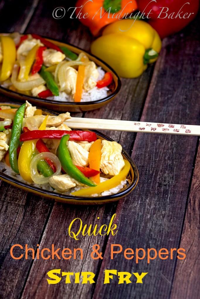 Quicky Chicken & Peppers Stir Fry | bakeatmidnite.com | #quickmeals #stirfry #chicken