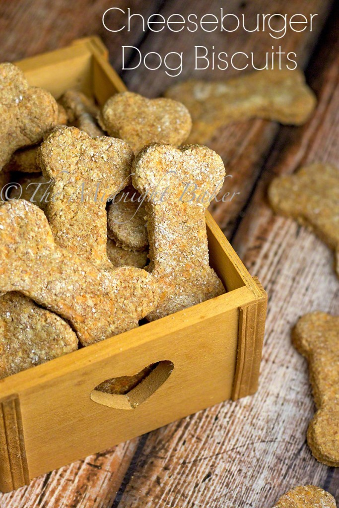 Cheeseburger Dog Biscuits   bakeatmidnite.com   #dogs #dogbiscuits #pettreats
