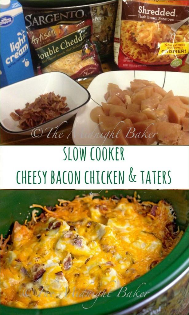 Slow Cooker Cheesy Bacon Chicken & Taters | bakeatmidnite.com | #slowcooker #crockpot #chicken #casseroles