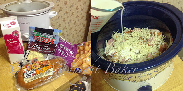 Crock Pot Cheesy Taters & Sausage | bakeatmidnite.com | #slowcooker #crockpot #potatoes #sausage #recipe