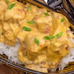 Tender chicken in a piquant cheesy sauce