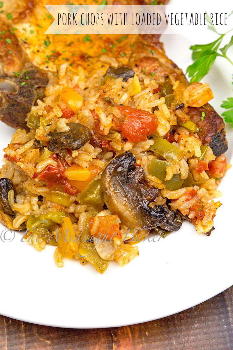 Pork chops bake right on top of this super-star vegetable rice side dish.