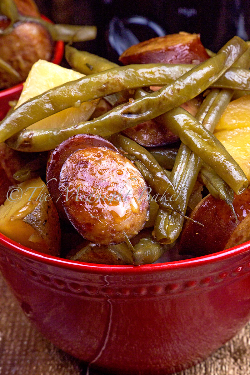 Kielbasa, green beans and potatoes come together to make this tasty and simple casserole. Dump it all in your slow cooker set it and forget it!