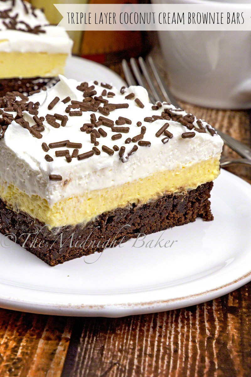 Three layers of deliciousness! Fudgy brownie bottom, creamy coconut center and airy whipped top!