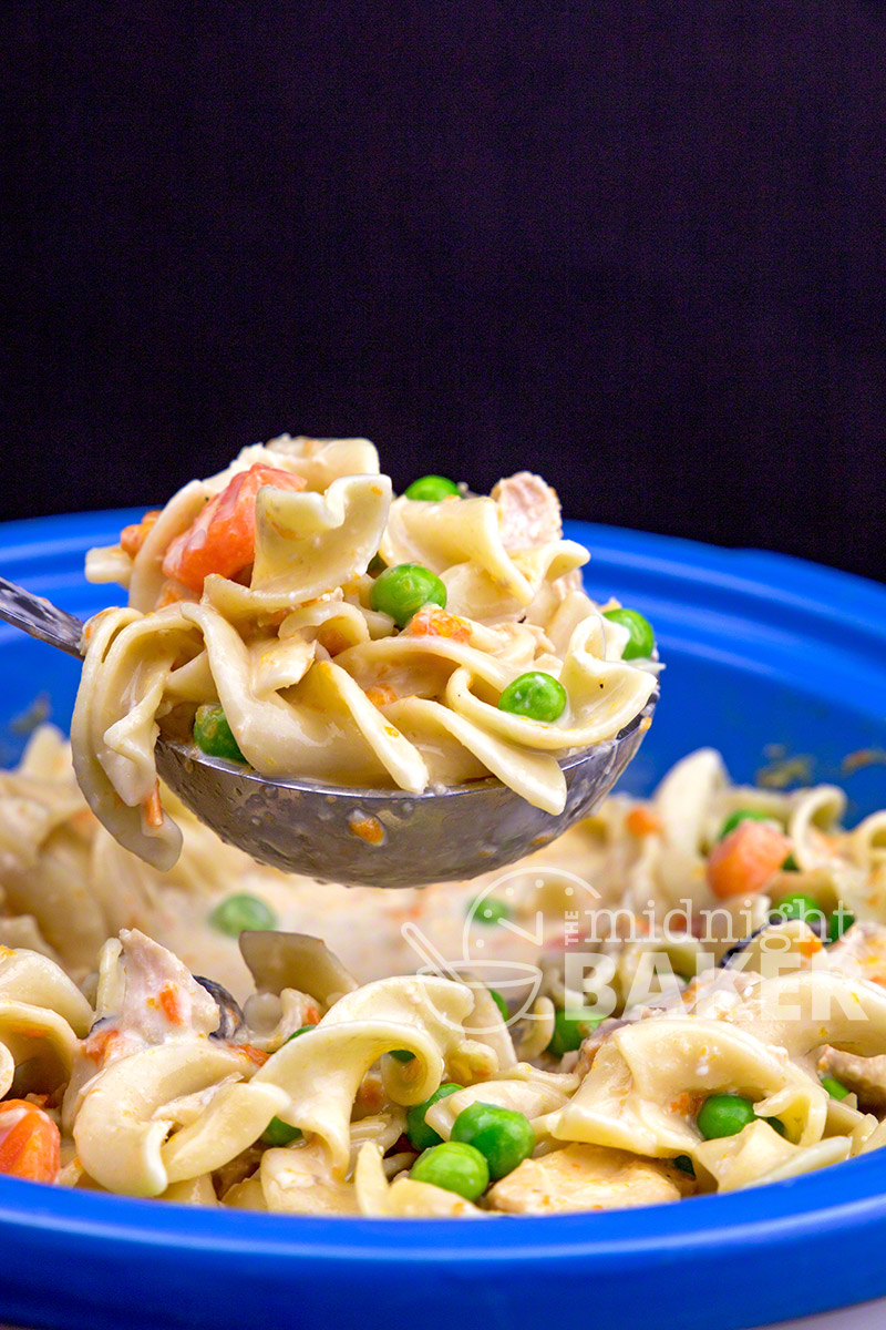 This chicken and noodle dinner goes above and beyond creaminess. Your slow cooker makes it easy!