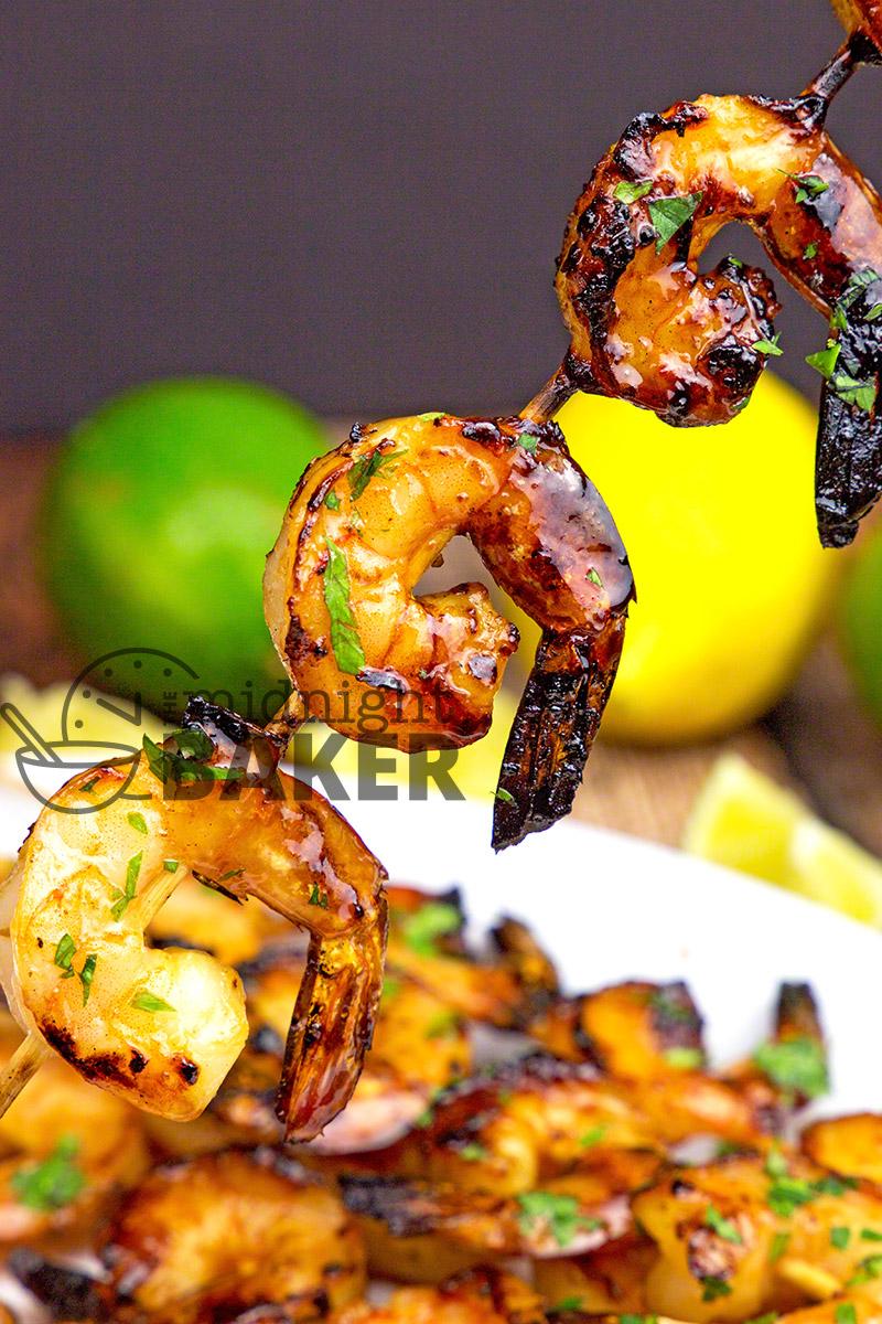 Shrimp with a wonderful garlic flavor glazed with a sweet but tangy lemon lime glaze.