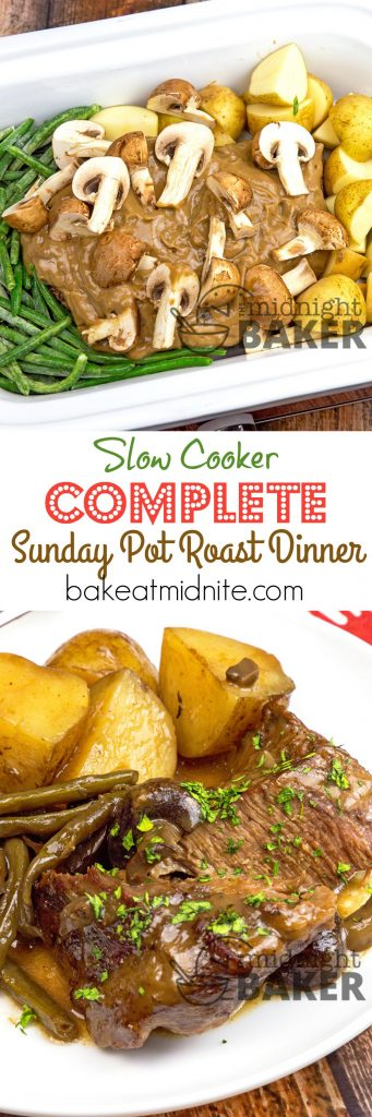 A complete pot roast dinner that cooks all together in the slow cooker