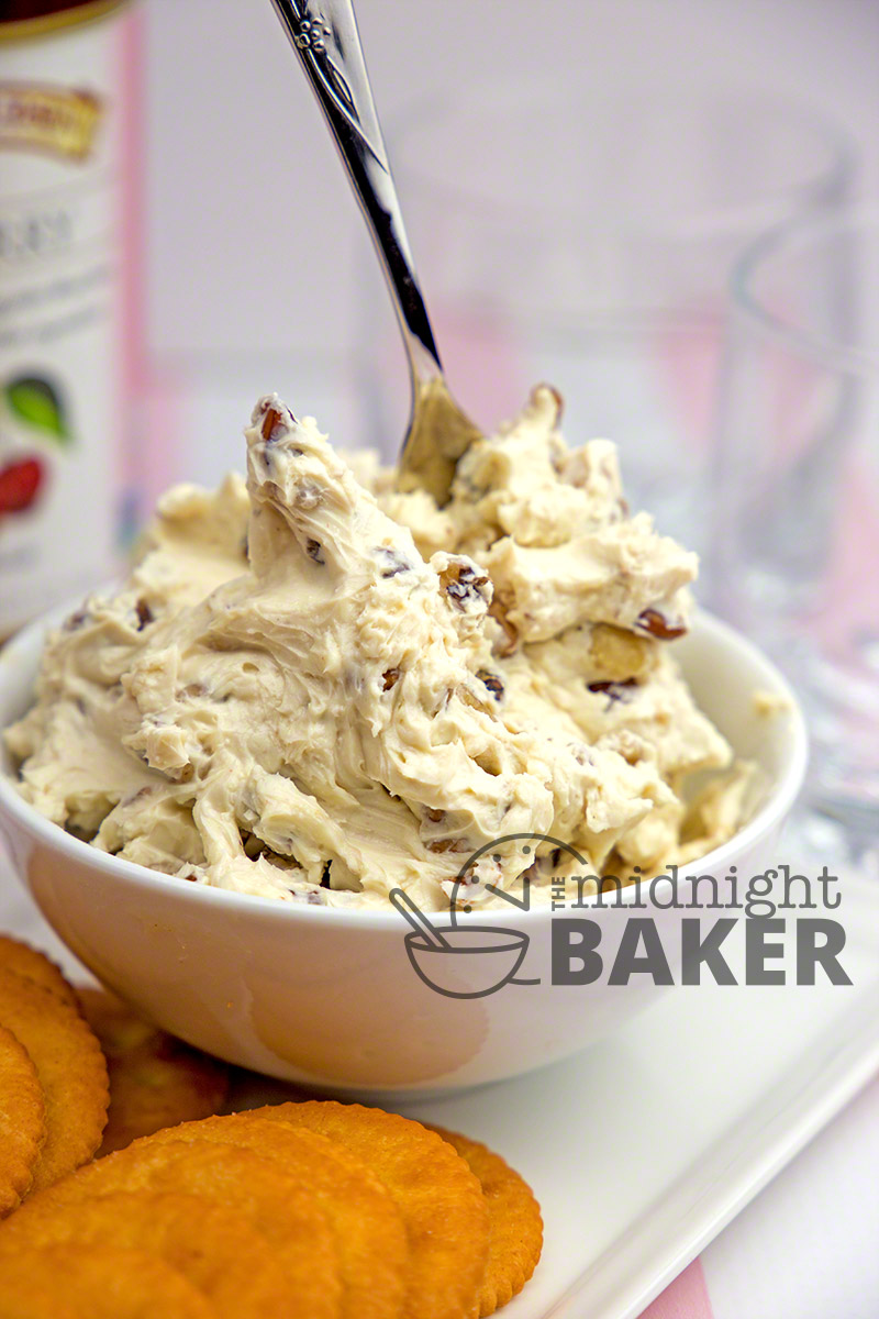 This maple walnut cream cheese spread is great on crackers or bagels