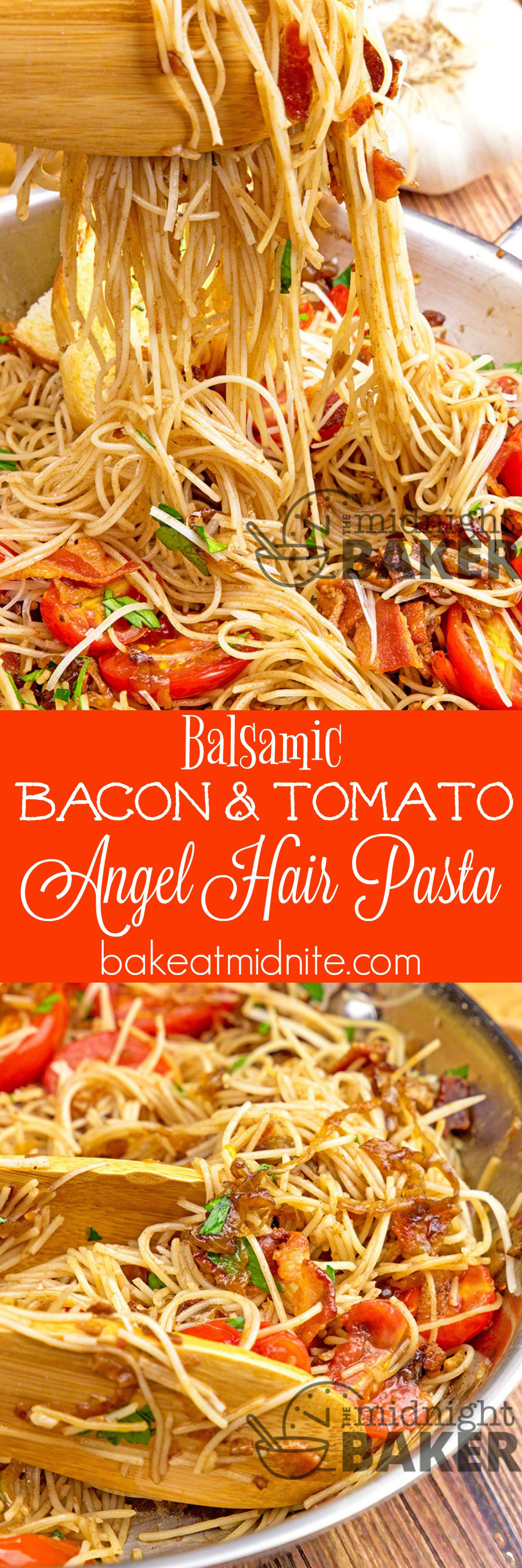 Light angel hair pasta with caramelized onion, garlic, bacon and tomato dressed in a slightly tangy balsamic garlic sauce is a quick and satisfying meal.