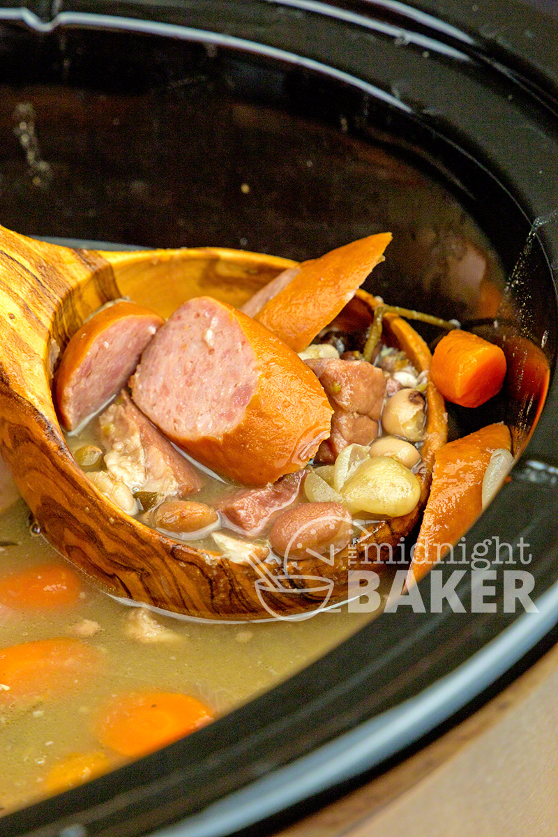 Hearty mixture of beans with ham and kielbasa flavor this delicious soup.