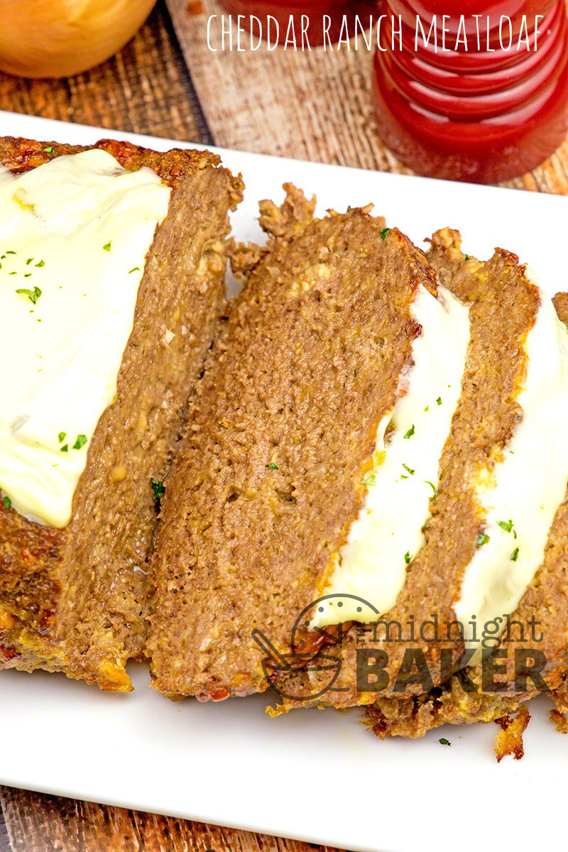 Meatloaf flavored with delicious cheddar cheese and ranch seasonint! A real family pleaser!