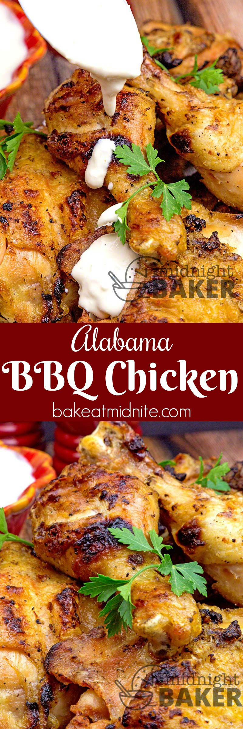 Grilled chicken with great Alabama white BBQ sauce. YUMMY