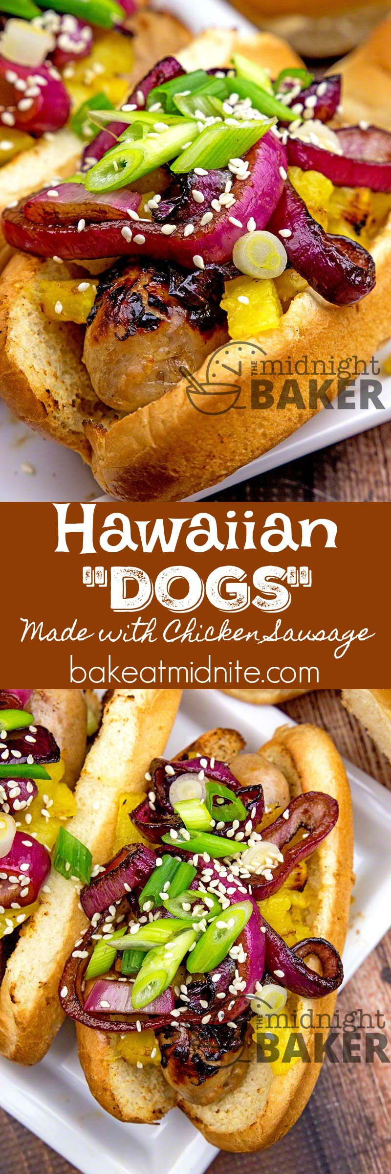"""Make these great """"dogs"""" with either franks or chicken sausage. Have a Hawaiian luau at your next cookout!"""