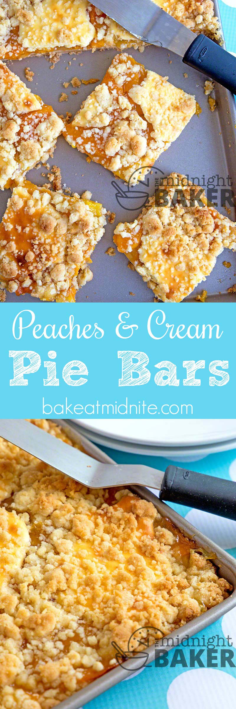 These peach pie bars have the added accent of cheesecake dolloped on top!