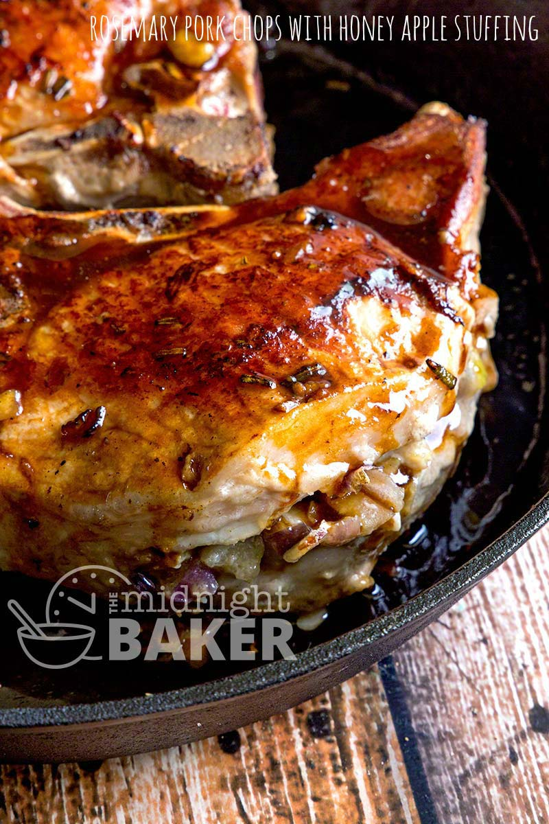 Nothing says fall like pork and apples! These chops are delicately flavored with rosemary and are stuffed with a tart apple stuffing.