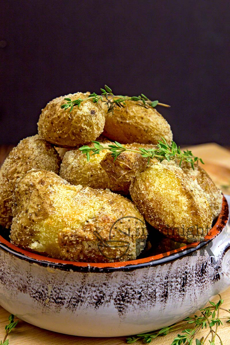 Add a pleasing crunch to your oven-roasted potatoes with a bit of semolina!
