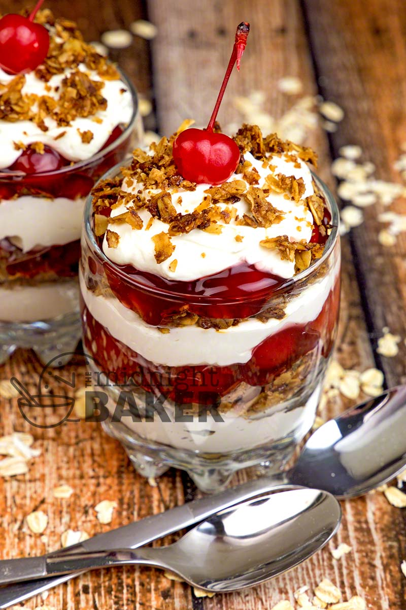 Easy cherry cheesecake dessert with a crunch. Good news is it can be made low fat too!