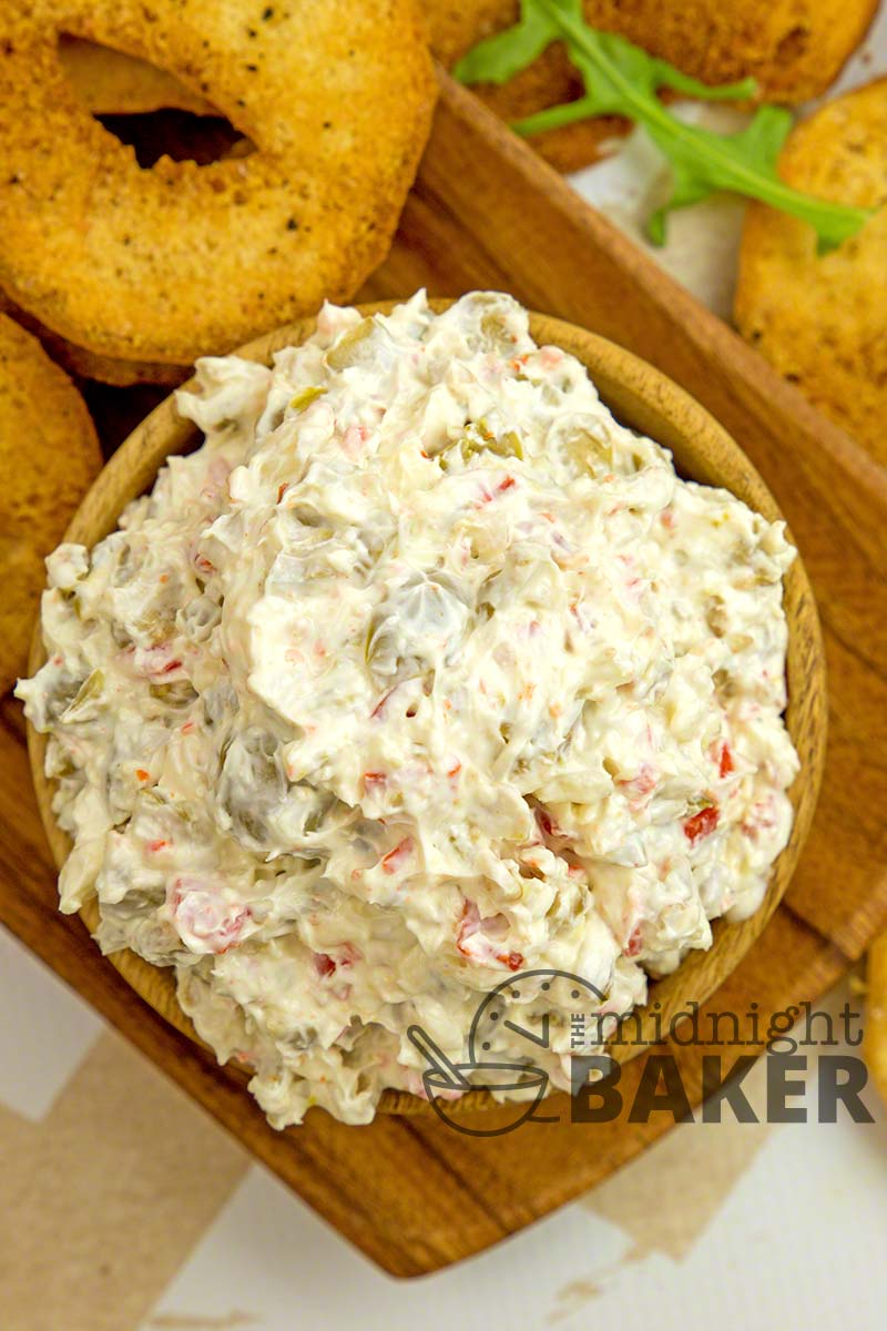 Insanely delicious olive dip and the perfect companion--garlic bagel chips.
