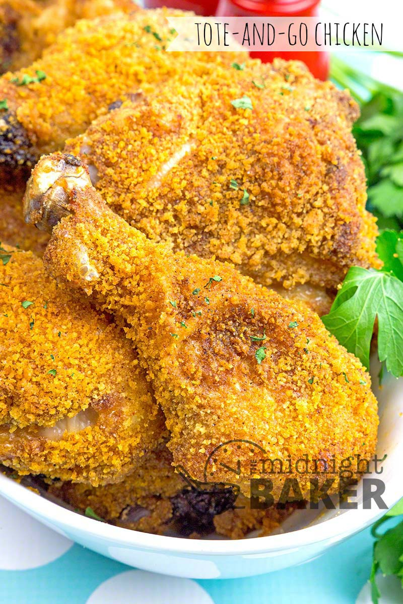 """Easy and yummy oven """"fried"""" chicken recipe that's picnic perfect!"""