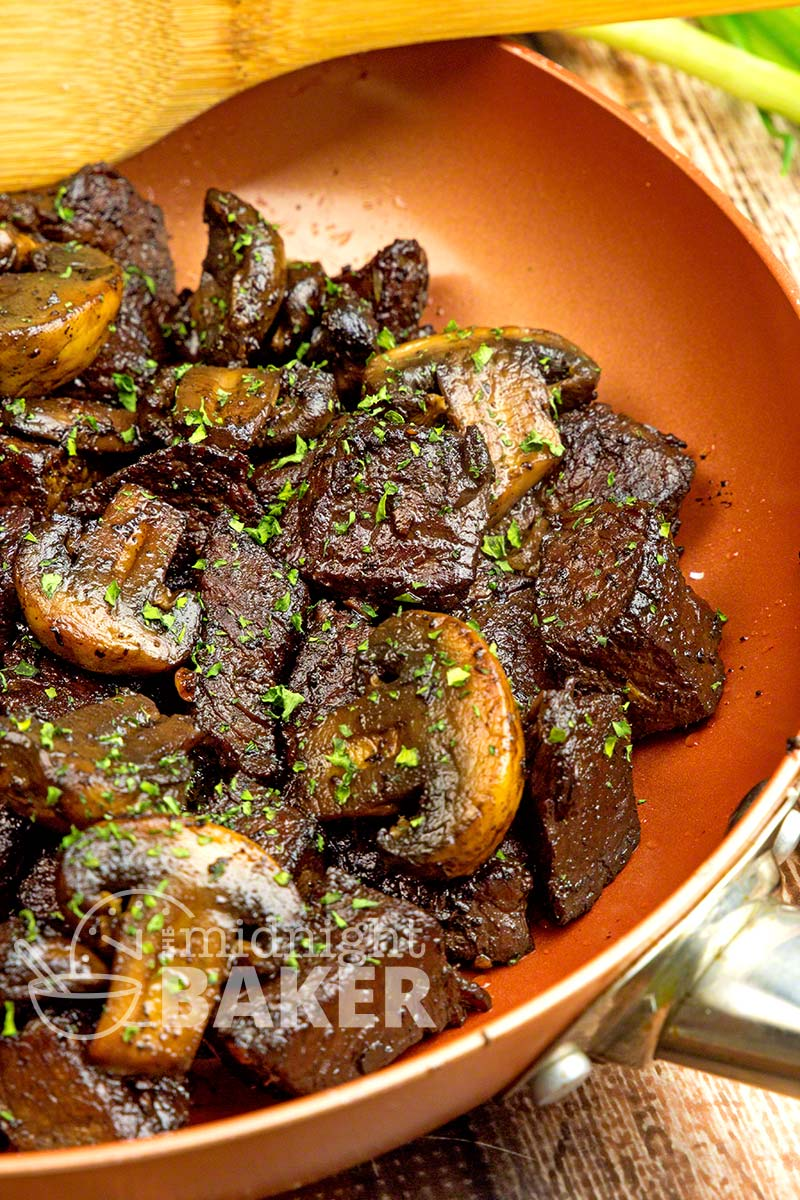 A quick and delicious dinner that stretches a sirloin steak. The mushrooms get a great flavor from caramelization.