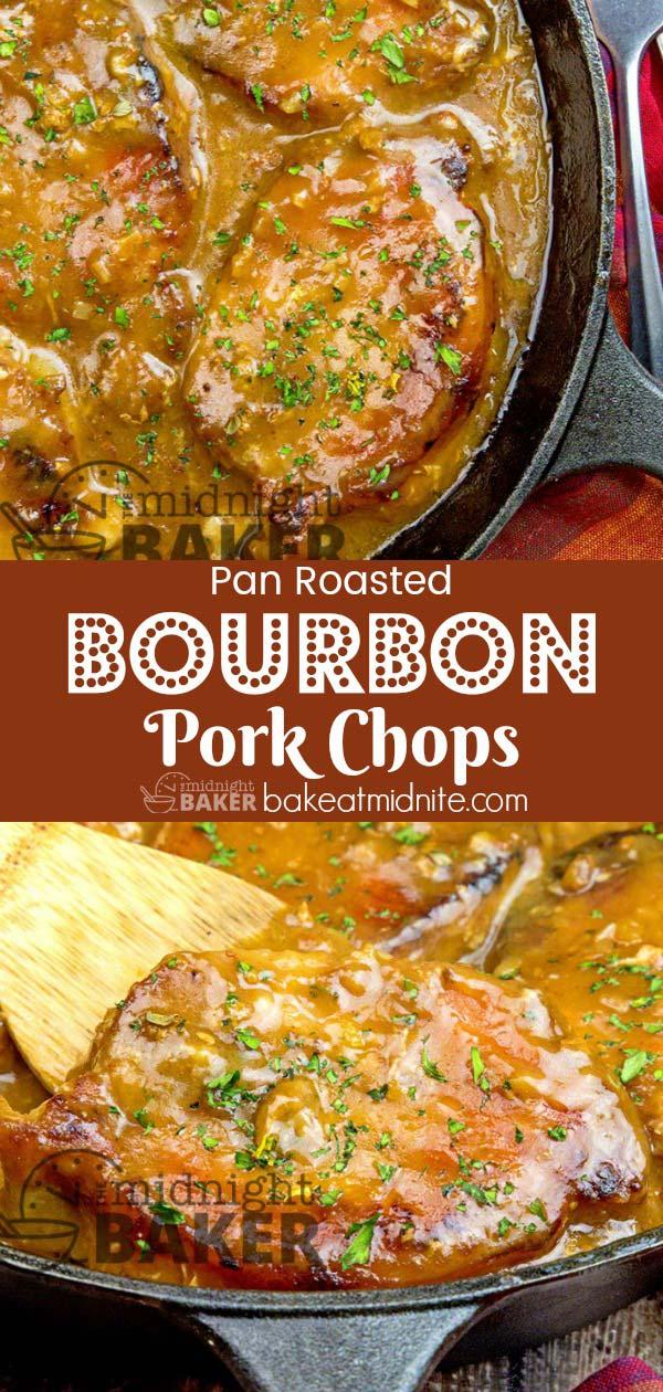 Succulent pork chops in a delicious bourbon sauce.