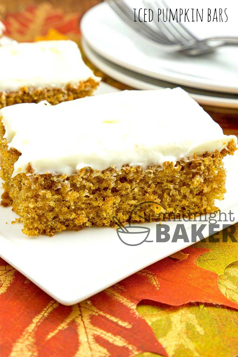 These pumpkin bars are a taste of fall and the icing is awesome.