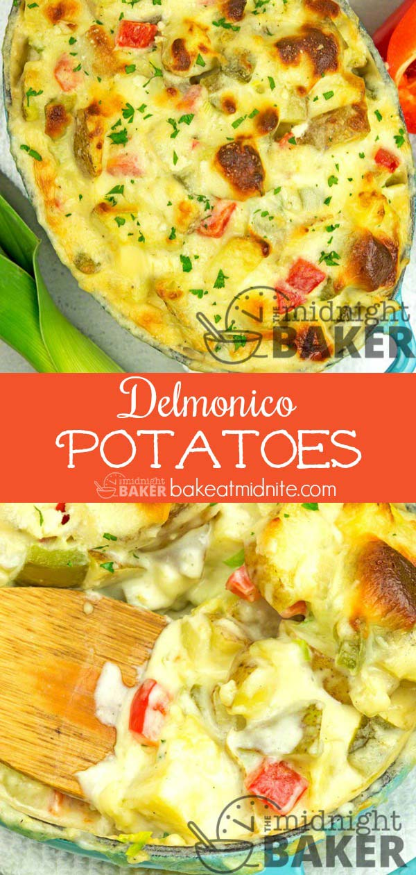 Delmonico potatoes go great with ham. Make them with leftover ham for a comforting all-in-one casserole.