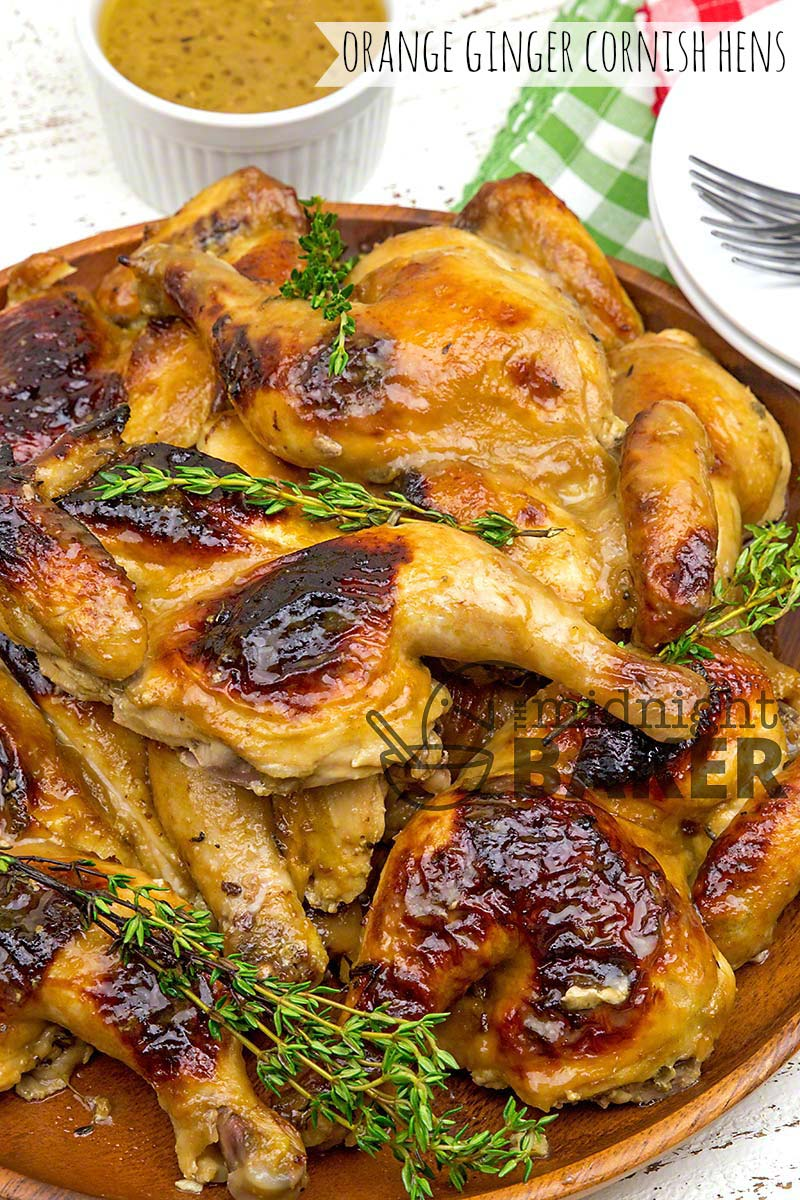 Tangy Cornish hens with a great orange and ginger flavor. Use small chickens too!