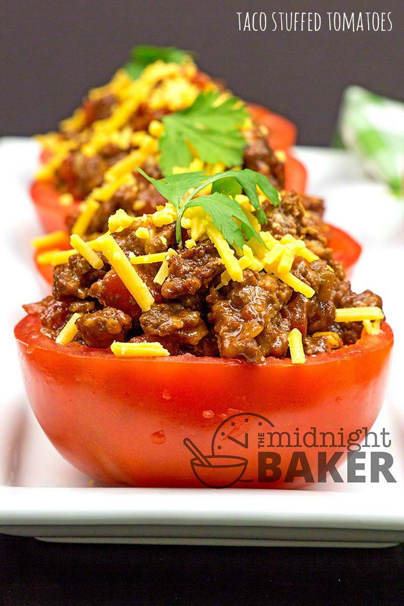 A great use for end-of-season tomatoes. Filled with taco-flavored beef. Low carb too!