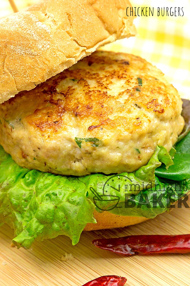 Tasty burgers made from ground chicken. They're juicy and perfect for dinner