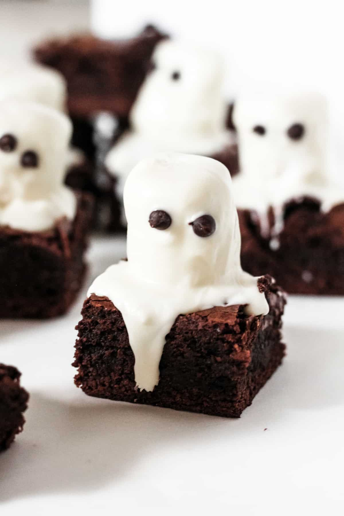 Spooky Ghost Marshmallow Brownies Baked Ambrosia