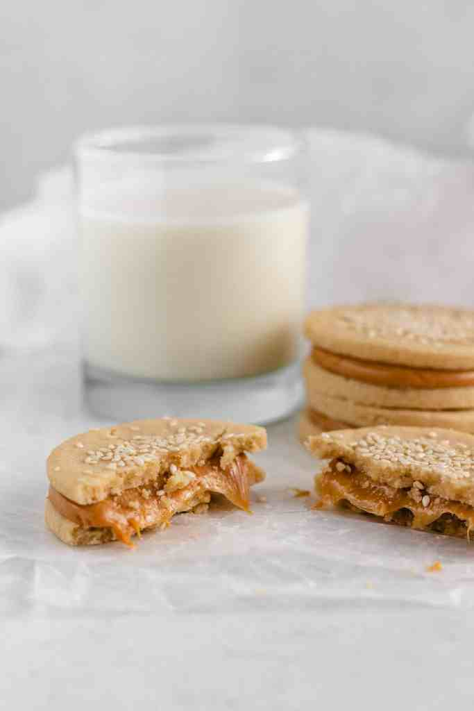 Tahini Cookies with Dulce de Leche