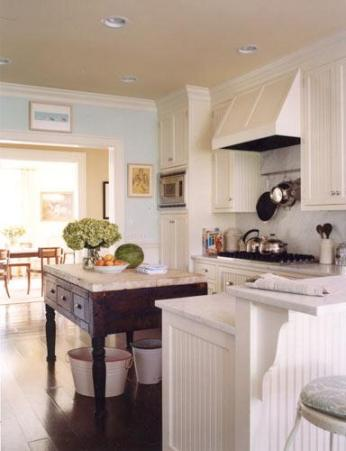 Suzie: Elizabeth Martin Design  beautiful coastal kitchen design with white beadboard kitchen ...