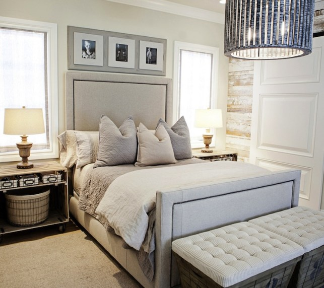 Suzie: FOUND - Sophisticated bedroom with rustic wood paneled walls, linen bed with nailhead ...