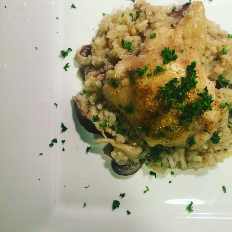 Greek Chicken with Wild Mushroom Risotto