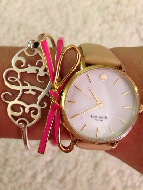 Monogrammed Bangle & Kate Spade Watch...I Die... #monogram #monogrammedbangle #katespade #preppy #bowbangle #pink