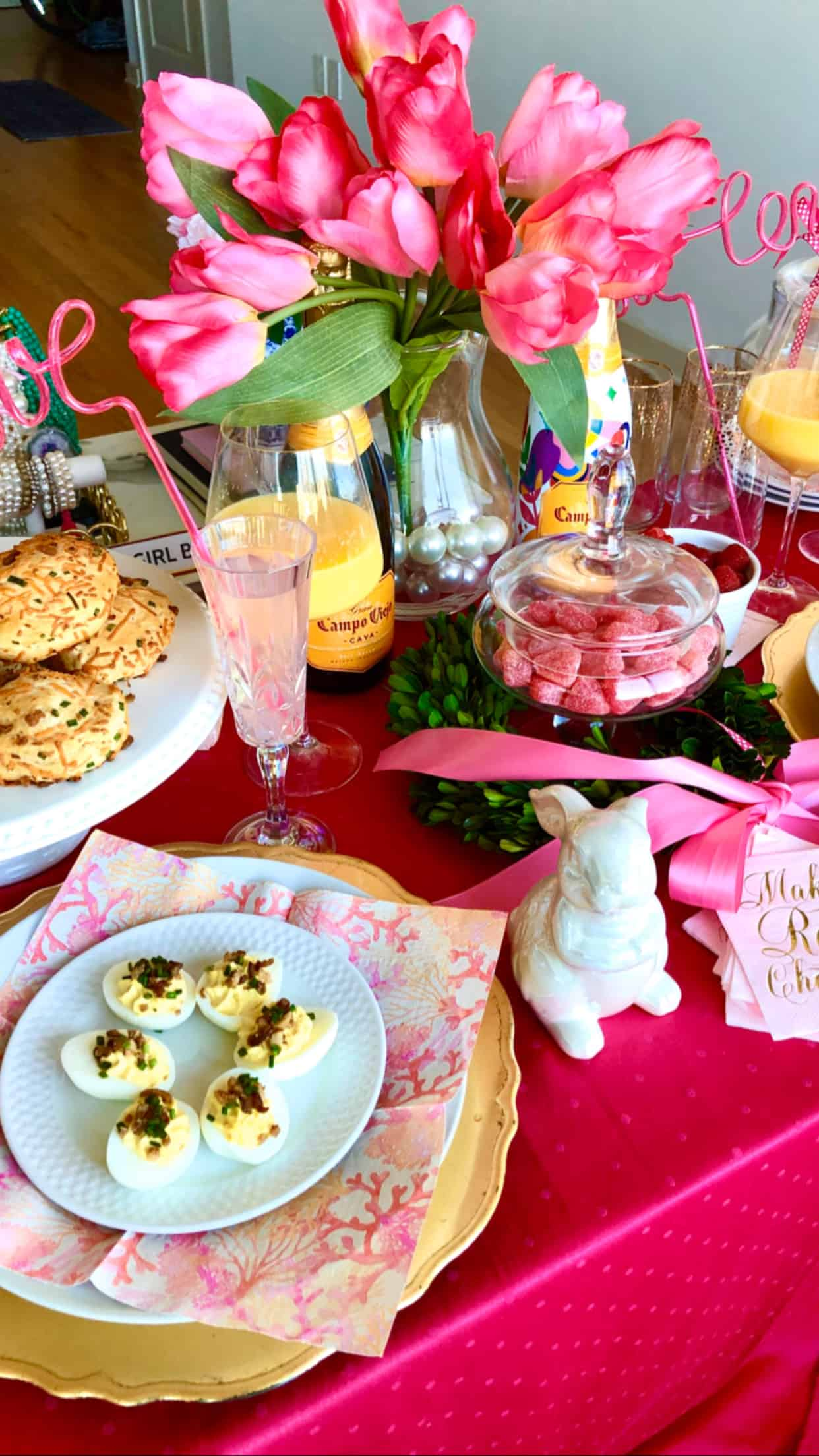 Pink Easter Brunch Tablescape