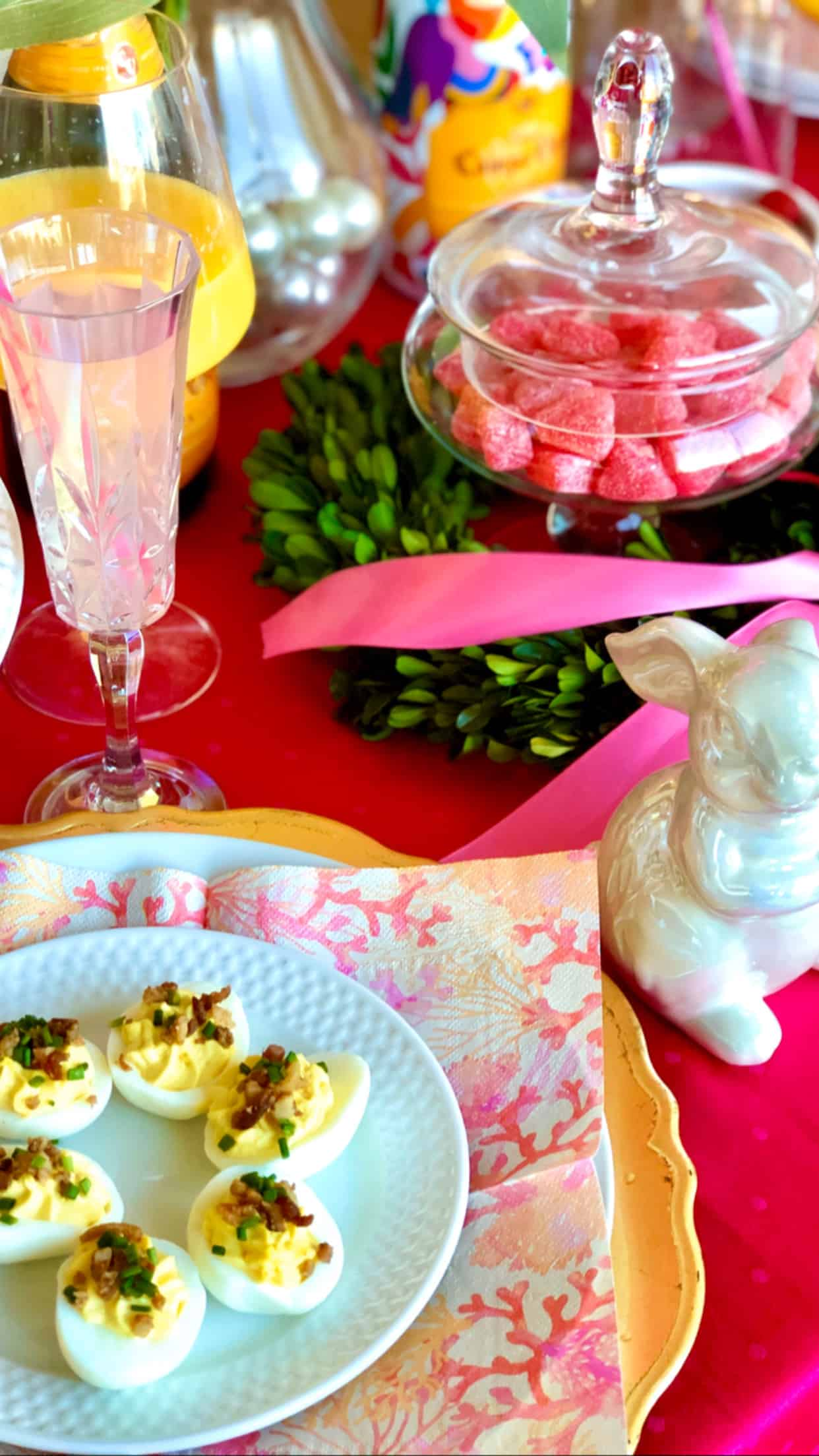 Preppy Pink Easter Brunch Tablescape