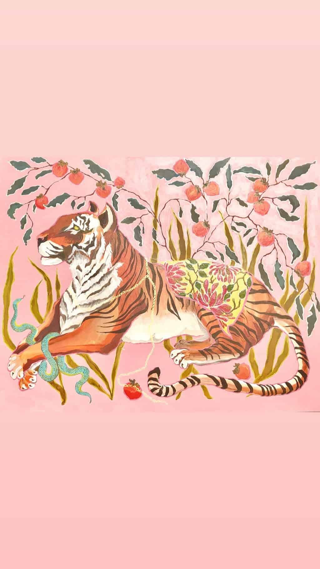 ART PRINT Tiger on Pink by Paige Gemmel