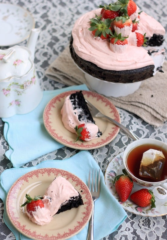 White Chocolate Covered Strawberry and Dark Chocolate Fudge Cake