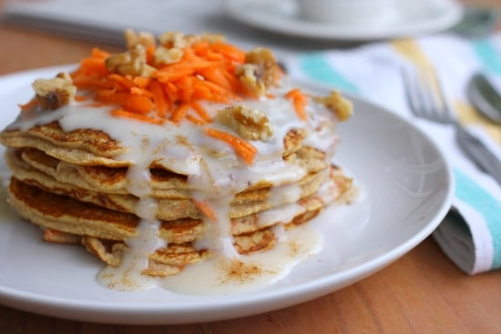 Carrot Cake Pancakes with Cream Cheese Maple Syrup