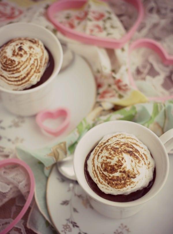 Dark Chocolate Custard with Meringue- Baker Bettie